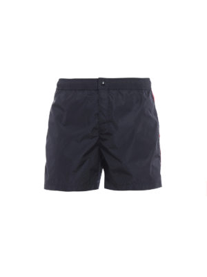 Moncler: Swim shorts & swimming trunks - Tricolour bands blue swim shorts