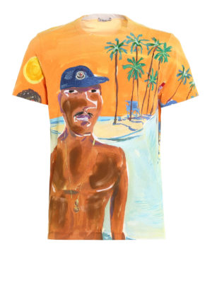 Moncler: t-shirts - Beach print cotton T-shirt