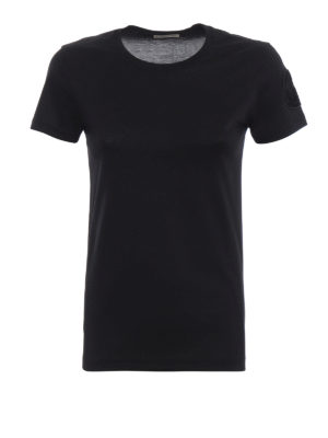 MONCLER: t-shirt - T-shirt nera con patch Moncler in velluto
