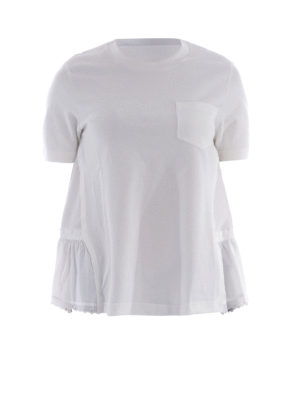 Moncler: t-shirts - Broderie anglaise detail T-shirt