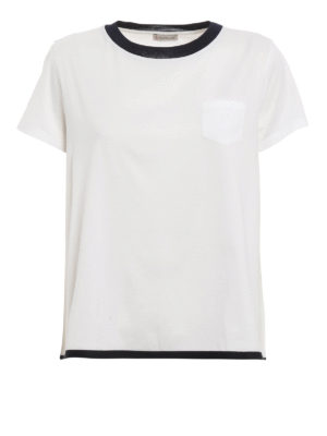 Moncler: t-shirts - Contrasting edge flared T-shirt