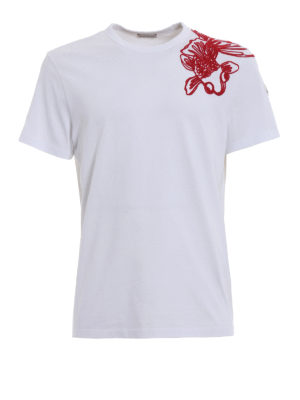 Moncler: t-shirts - Contrasting embroidered white Tee