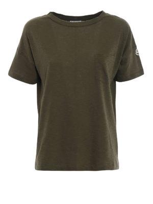 Moncler: t-shirts - Dark green cotton jersey T-shirt