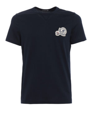 Moncler: t-shirts - Double logo detailed blue Tee