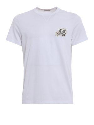 Moncler: t-shirts - Double logo detailed white Tee