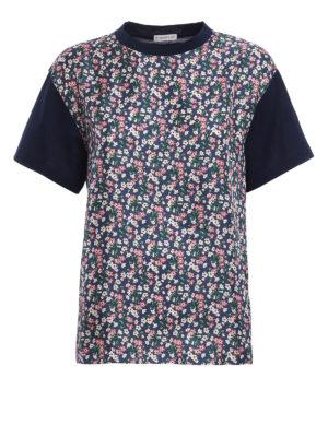 Moncler: t-shirts - Floral silk front panelled T-shirt