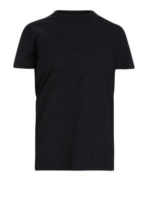 MONCLER: t-shirt - T-shirt in jersey nero con intrecci tubolari