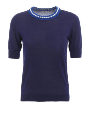 Moncler: t-shirts - Knitted collar T-shirt
