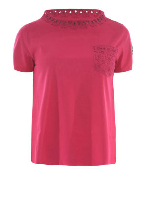 Moncler: t-shirts - Lace detail flared T-shirt