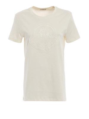 MONCLER: t-shirt - T-shirt con maxi logo Moncler