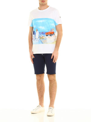 Moncler: t-shirts online - Beach print cotton T-shirt