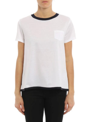 Moncler: t-shirts online - Contrasting edge flared T-shirt