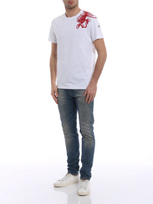 Moncler: t-shirts online - Contrasting embroidered white Tee