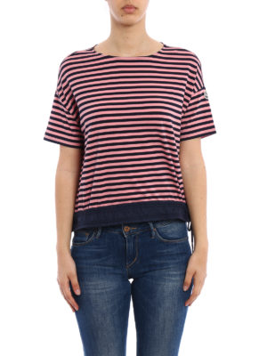 Moncler: t-shirts online - Double drawstring striped T-shirt
