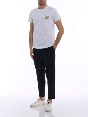 Moncler: t-shirts online - Double logo detailed white Tee
