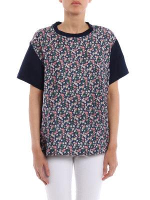 Moncler: t-shirts online - Floral silk front panelled T-shirt