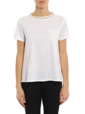Moncler: t-shirts online - Lace detail flared T-shirt