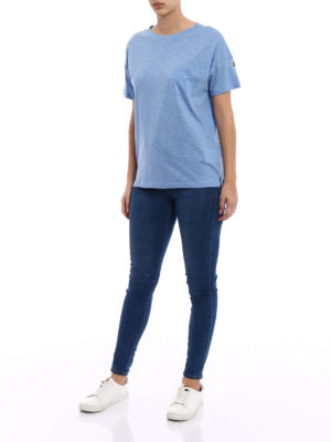 Moncler: t-shirts online - Light blue cotton jersey T-shirt