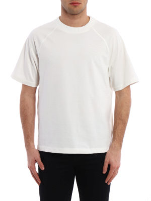 Moncler: t-shirts online - Off-White short sleeve Tee
