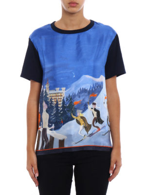 Moncler: t-shirts online - Painted silk and cotton Tee