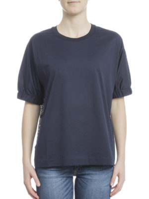 Moncler: t-shirts online - Printed silk and cotton Tee