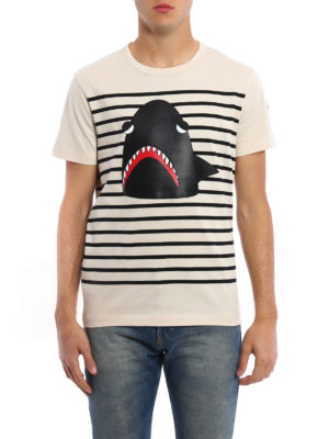 Moncler: t-shirts online - Shark detailed striped Tee