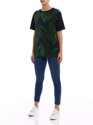Moncler: t-shirts online - Silk and cotton patterned T-shirt