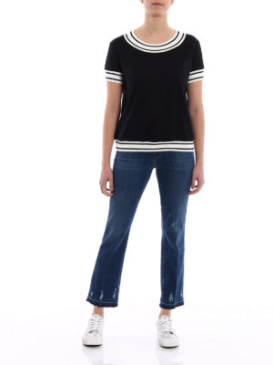 Moncler: t-shirts online - Striped rib knitted trims T-shirt