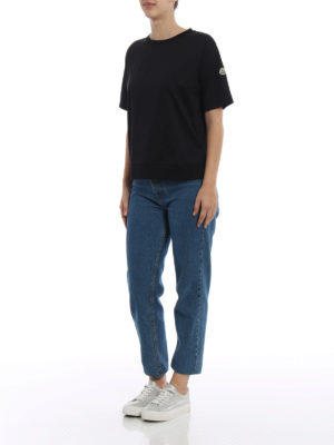 Moncler: t-shirts online - Techno panelled black T-shirt