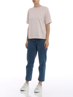 Moncler: t-shirts online - Techno panelled pink T-shirt