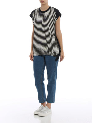 Moncler: t-shirts online - Techno panelled striped T-shirt
