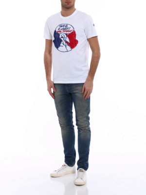 Moncler: t-shirts online - Tricolour cartoon embroidery Tee