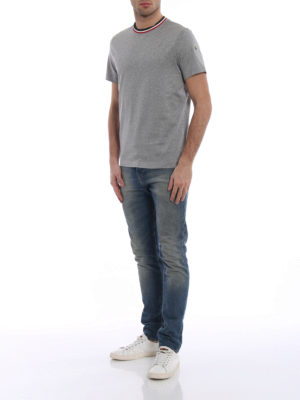 Moncler: t-shirts online - Tricolour neckline grey cotton Tee