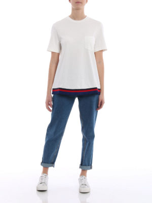 Moncler: t-shirts online - Tricolour pleated hem white Tee