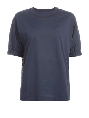 Moncler: t-shirts - Printed silk and cotton Tee