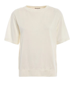 MONCLER: t-shirt - T-shirt in cotone inserto elastico