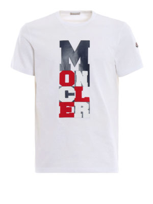 MONCLER: t-shirt - T-shirt bianca con logo tricolore gommato