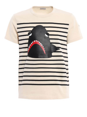 Moncler: t-shirts - Shark detailed striped Tee