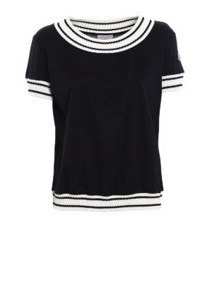 Moncler: t-shirts - Striped rib knitted trims T-shirt
