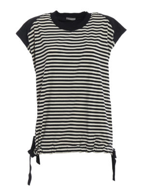 Moncler: t-shirts - Techno panelled striped T-shirt
