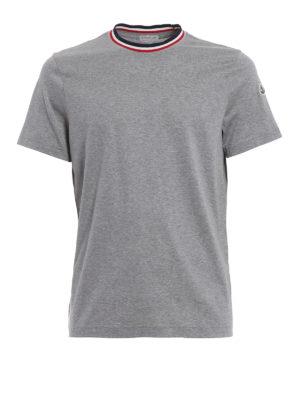Moncler: t-shirts - Tricolour neckline grey cotton Tee