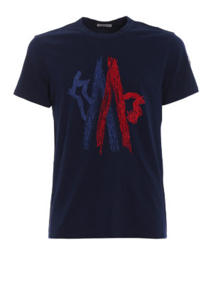 Moncler: t-shirts - Two-tone embroidered blue Tee