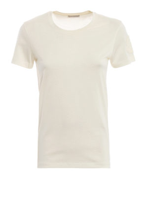 MONCLER: t-shirt - T-shirt bianca con patch Moncler in velluto