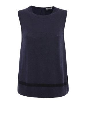 Moncler: Tops & Tank tops - High-tech fabric panelled knit top