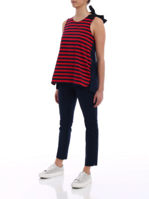 Moncler: Tops & Tank tops online - Bow detailed striped front tank top