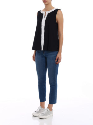 Moncler: Tops & Tank tops online - Contrasting inserts tank top