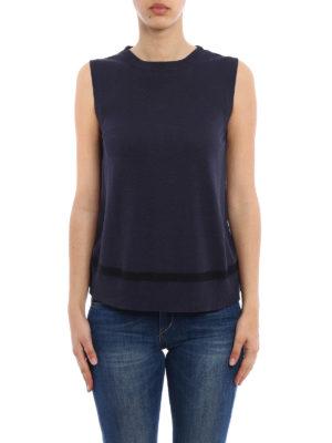 Moncler: Tops & Tank tops online - High-tech fabric panelled knit top