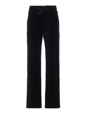MONCLER: pantaloni sport - Pantaloni sportivi larghi in velluto nero