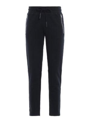MONCLER: pantaloni sport - Pantaloni da tuta blu in cotone