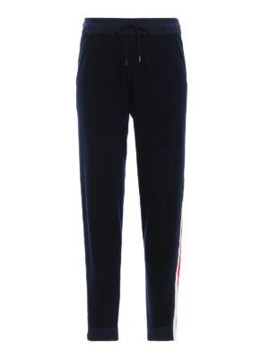 MONCLER: pantaloni sport - Pantaloni sportivi in maglia di lana blu